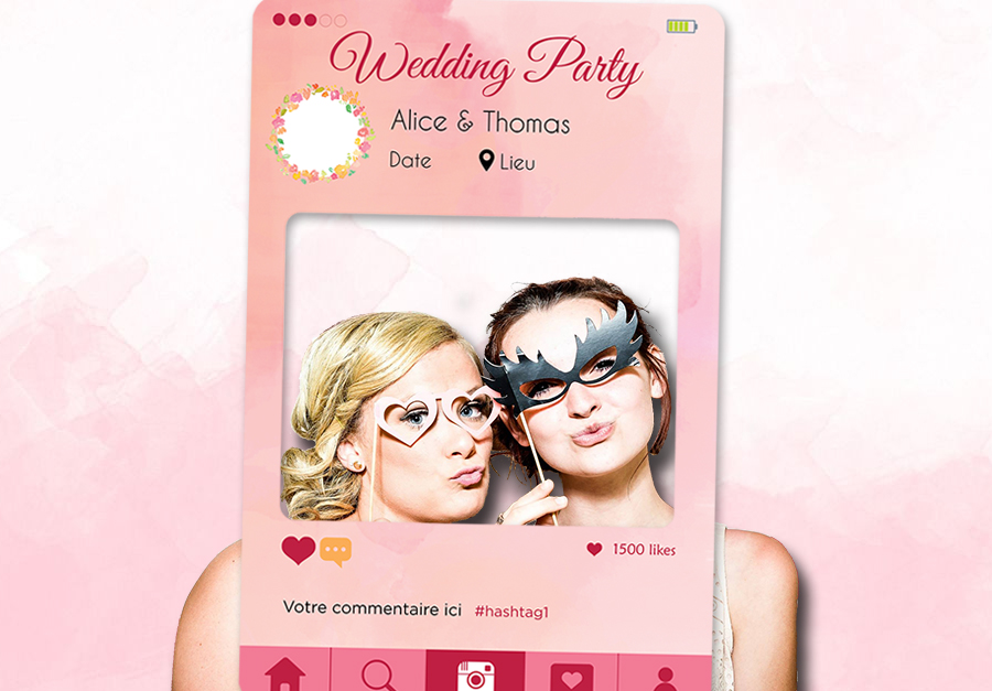 cadre photobooth mariage personnalisable rose