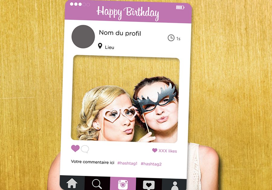 Cadre photobooth anniversaire Instagram personnalisable