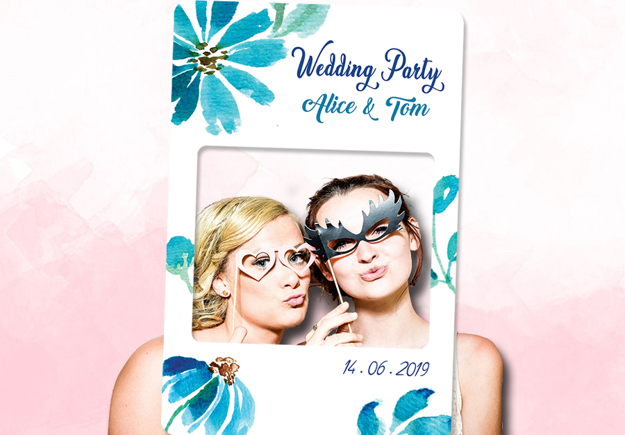 Cadre photobooth personnalise evenement aquarelle