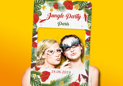 Cadre photobooth personnalisable theme jungle