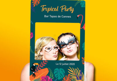 Cadre photobooth personnalise Tropical Flamingo