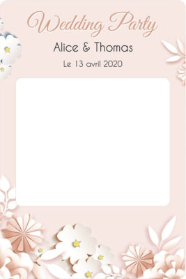 Cadre photobooth mariage personalisable fleurs pastel