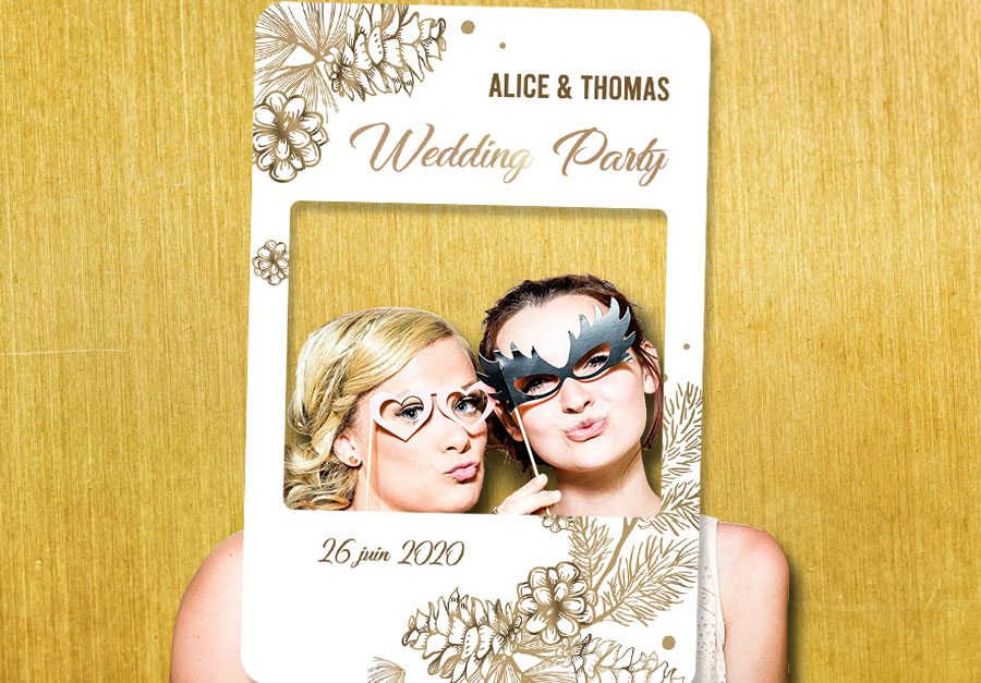 Creation cadre photobooth mariage ambiance hivernale