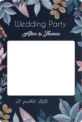 Creation cadre photobooth mariage blue botanical