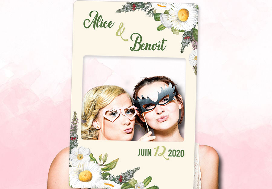 creation cadre photobooth personnalise mariage champetre chic