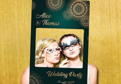 Cadre photobooth animation mariage decoration vert or