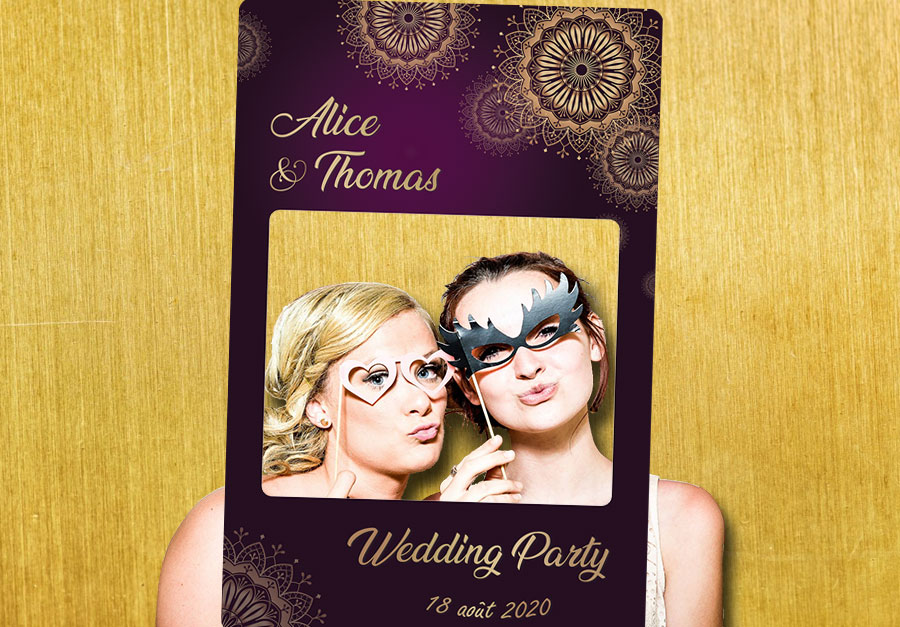 Cadre photobooth animation decoration mariage violet or