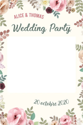 Cadre photobooth floral personnalisable mariage