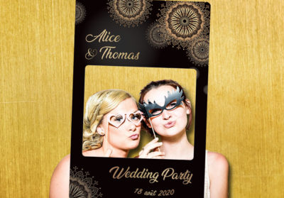 Cadre photobooth mariage noir or