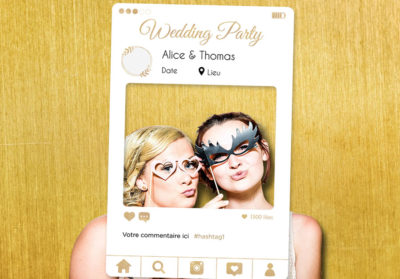 Cadre photobooth instagram personnalisable blanc or