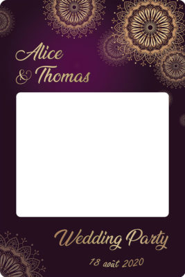 Cadre photobooth personnalisable mariage violet or
