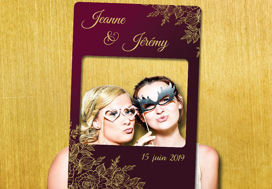 Animation photobooth mariage decoration bordeaux or
