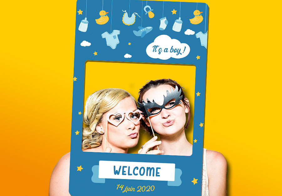 cadre photobooth animation fete baby shower garcon
