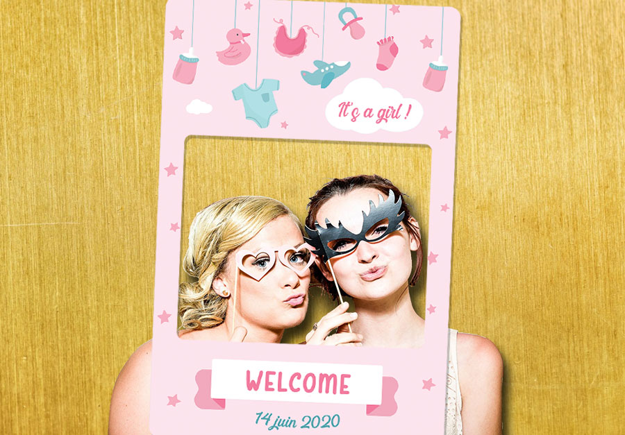 cadre photobooth idee animation fete baby shower fille