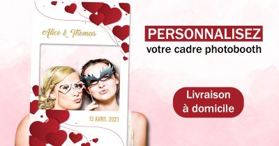 cadre photobooth animation mariage coeur rouge doré