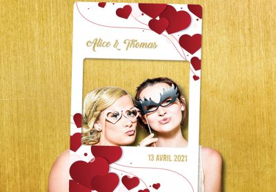 cadre photobooth mariage decoration or rouge