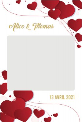 cadre photobooth personnalisable animation mariage coeur rouge