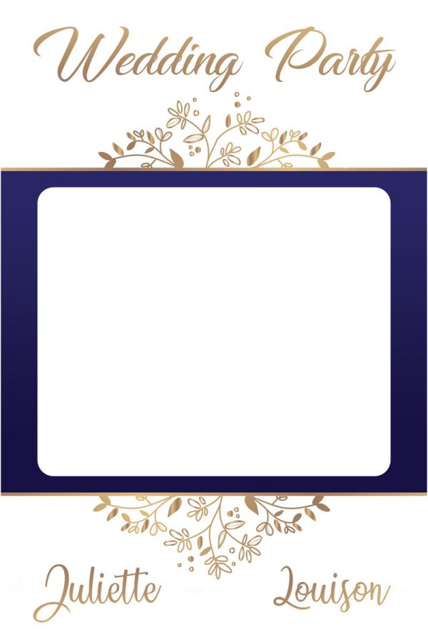 cadre-photobooth-mariage-decoration-bleu-ornement-or