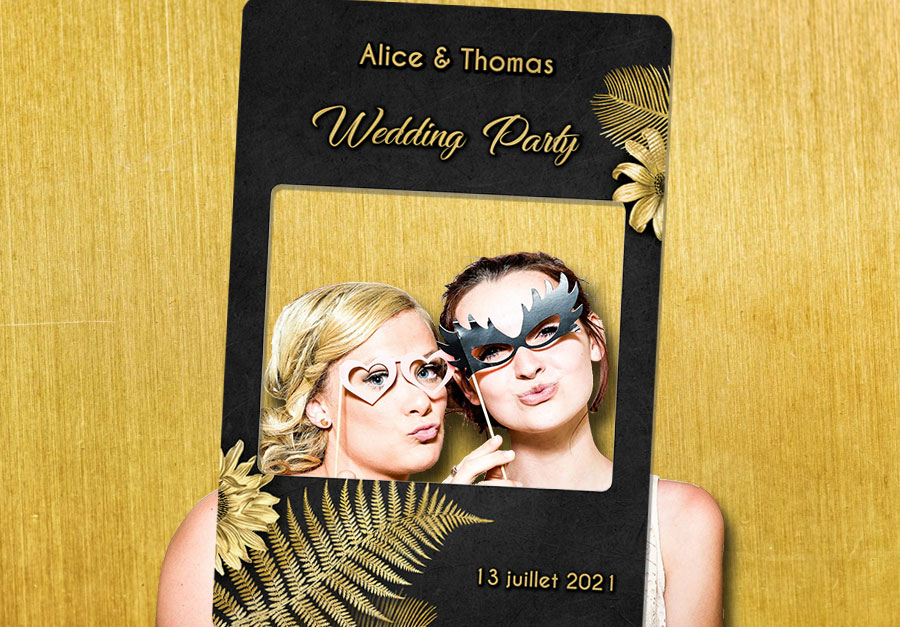 Cadre-photobooth-personnalisable-decoration-tropical-noir-or