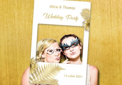 Cadre-photobooth-personnalisable-theme-tropical-blanc-or