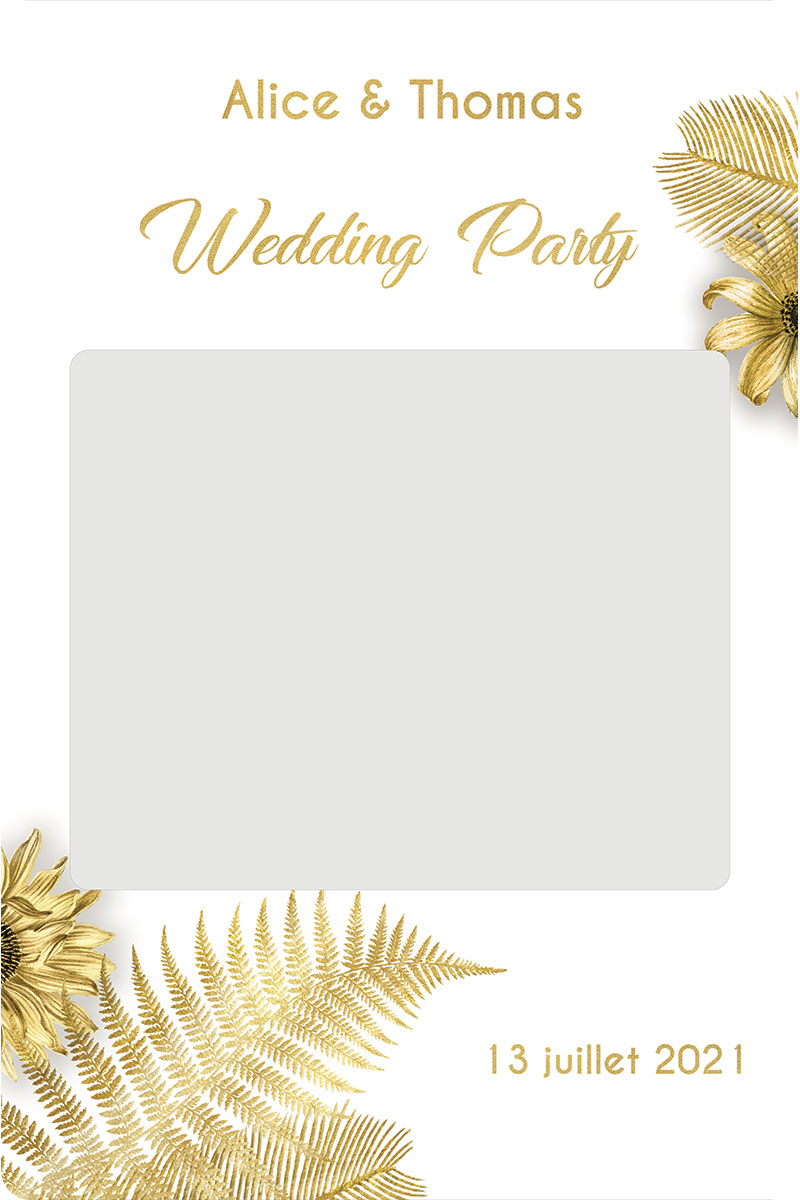 Cadre-photobooth-personnalise-theme-tropical-blanc-or