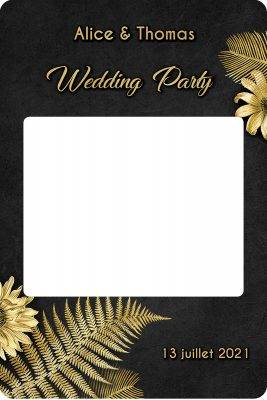 Cadre-photobooth-personnalise-theme-tropical-noir-or