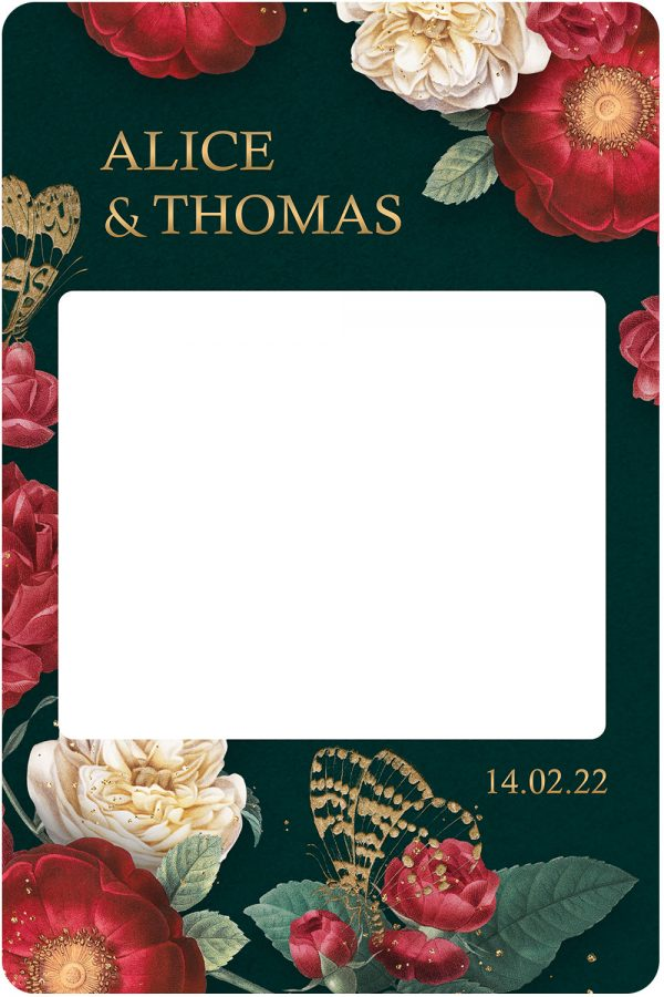 cadre-photobooth-mariage-decoration-passion-florale-rouge-or